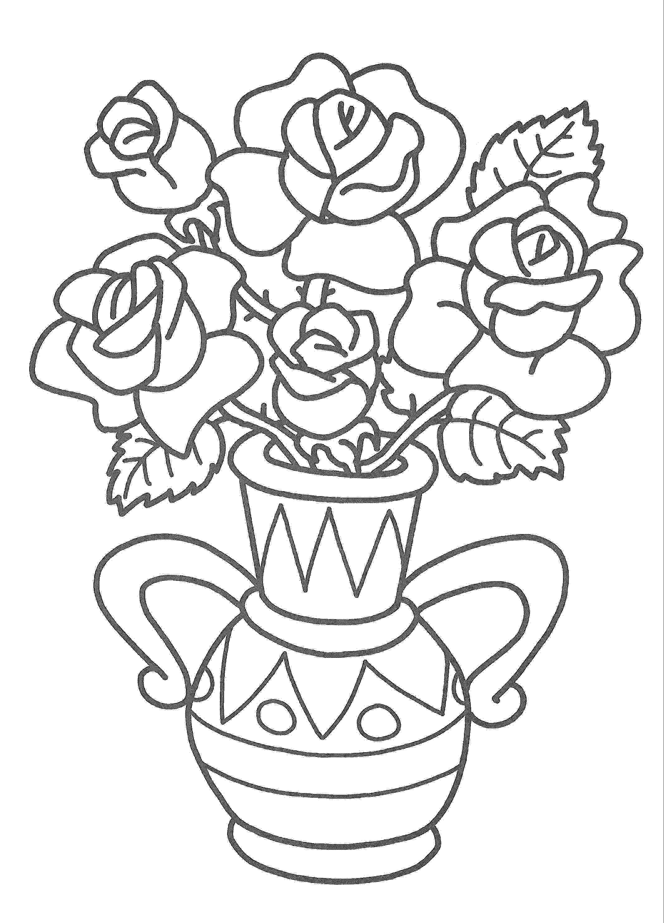 Раскраска ваза с цветами. Скачать Ваза.  Распечатать Ваза