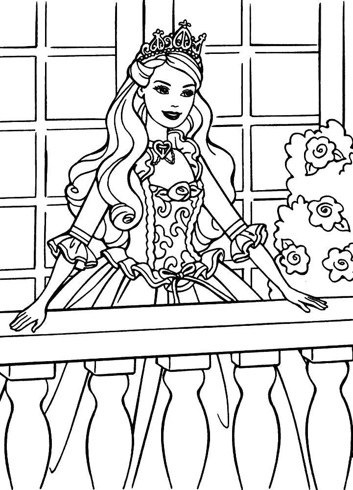 Раскраска Принцесса на терассе. Скачать .  Распечатать