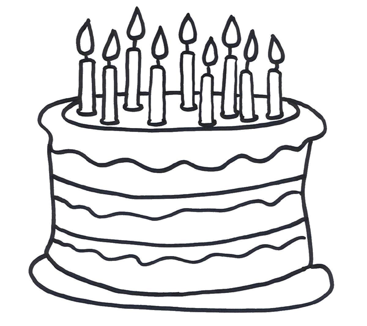 Раскраски свеча, Раскраска торт со свечами на день ...