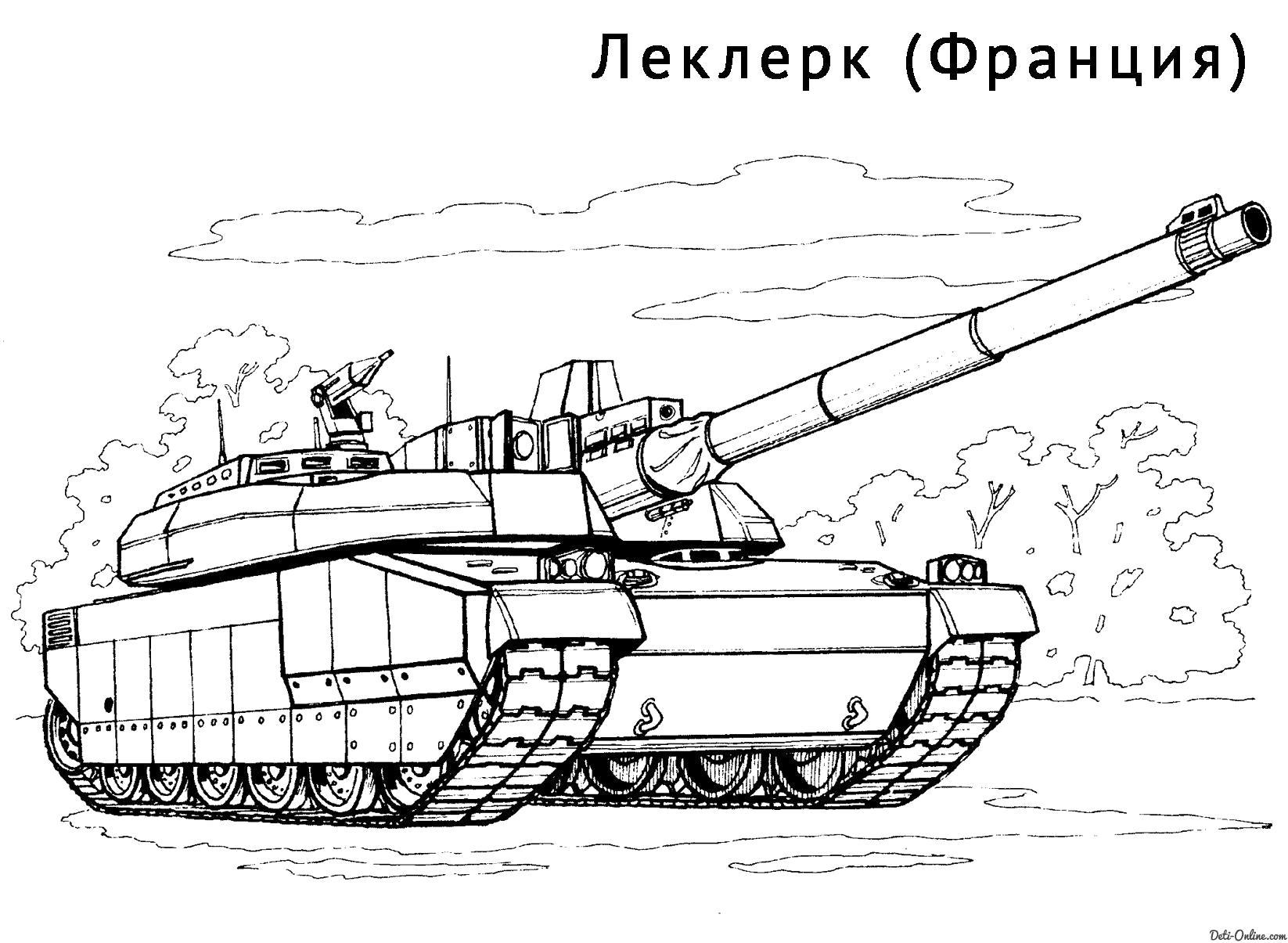 Раскраска  Танк Леклерк. Скачать танк.  Распечатать танк