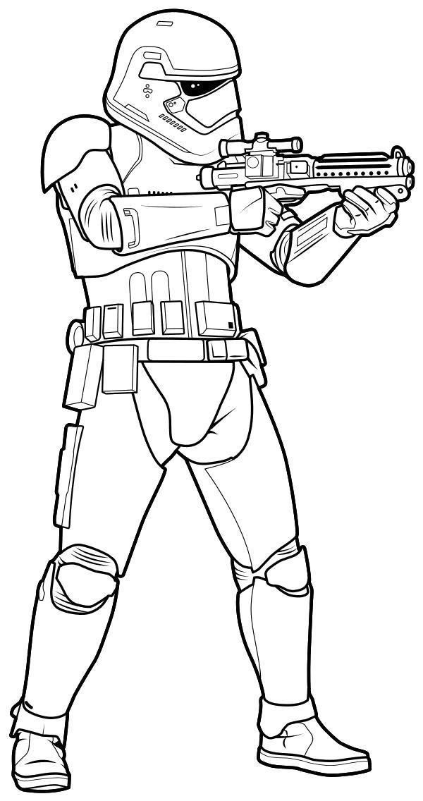 Раскраска  - Звёздные войны: Пробуждение силы - Штурмовик готов стрелять. Скачать Звездные войны.  Распечатать Звездные войны
