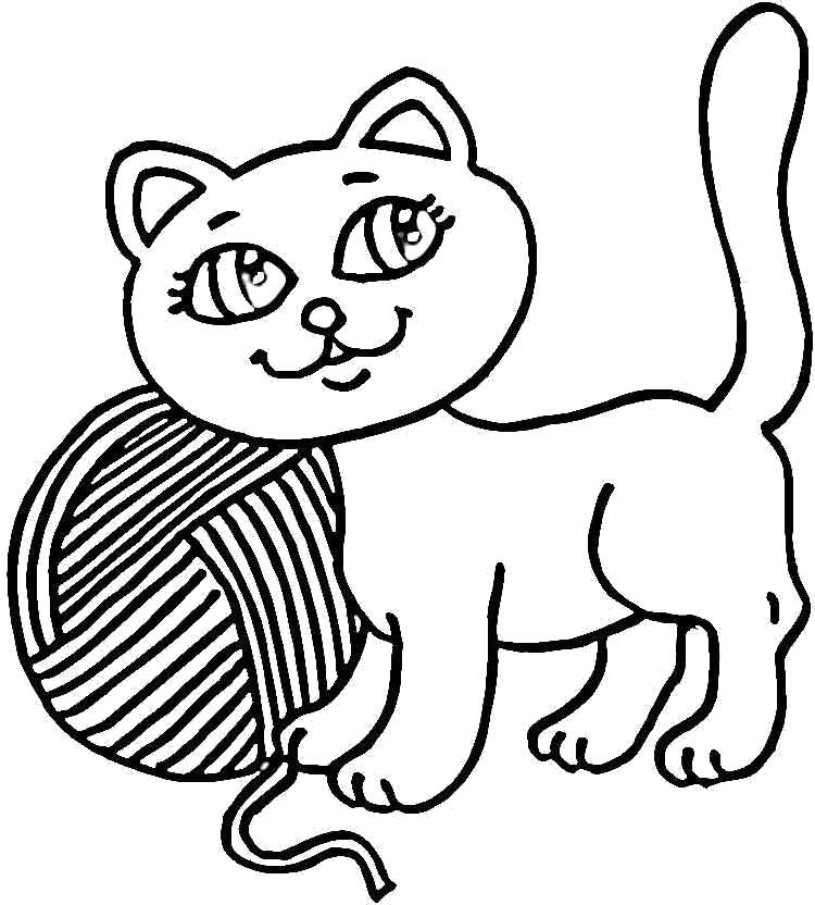 Раскраска Котенок с клубком. Домашние животные