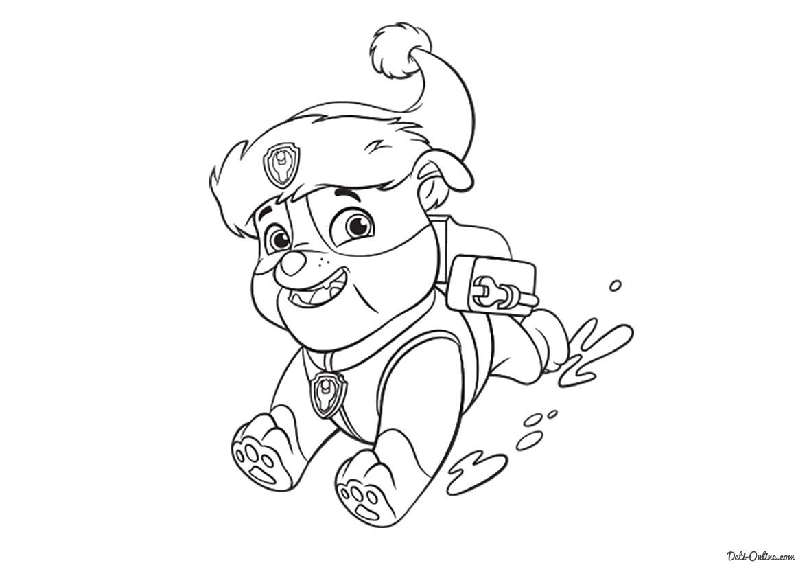 Раскраска Раскраска Крепыш, спасатель, крепыш катается по снегу. Щенячий Патруль