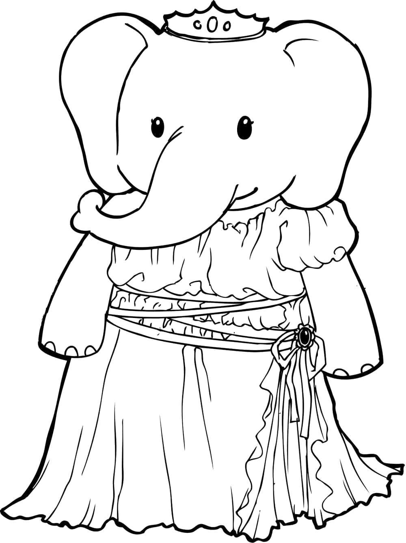 Раскраска Слониха принцесса.