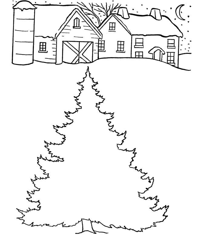 Раскраска елка во дворе. новогодние