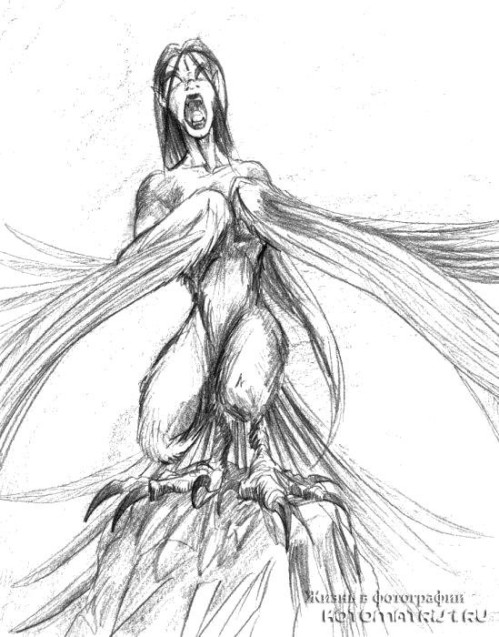 Девушка мифическое существо карандашом