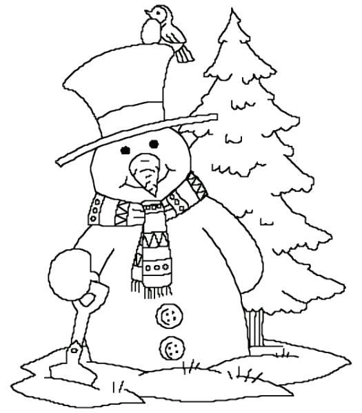 Раскраска снеговик стоит с елочкой. новогодние