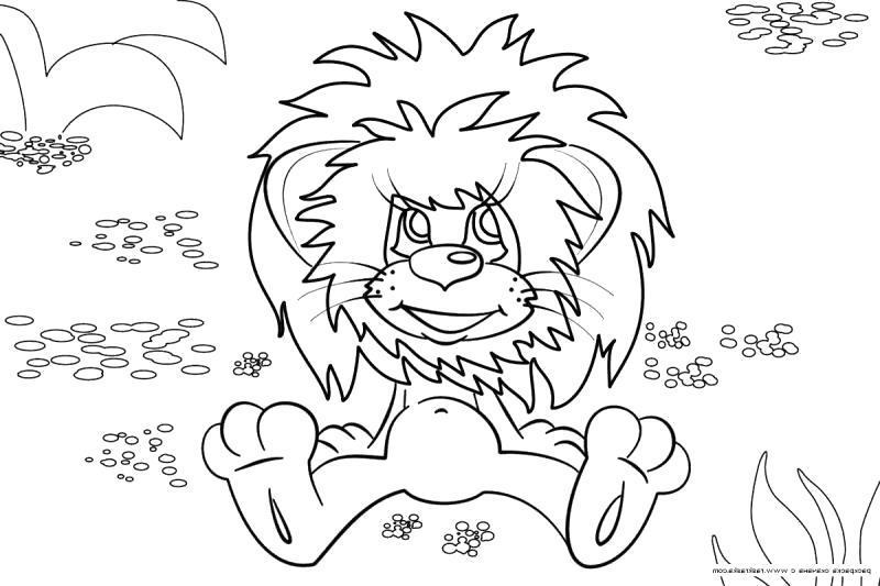 Раскраска Рисунки для витражных красок, львенок сидит . Скачать .  Распечатать