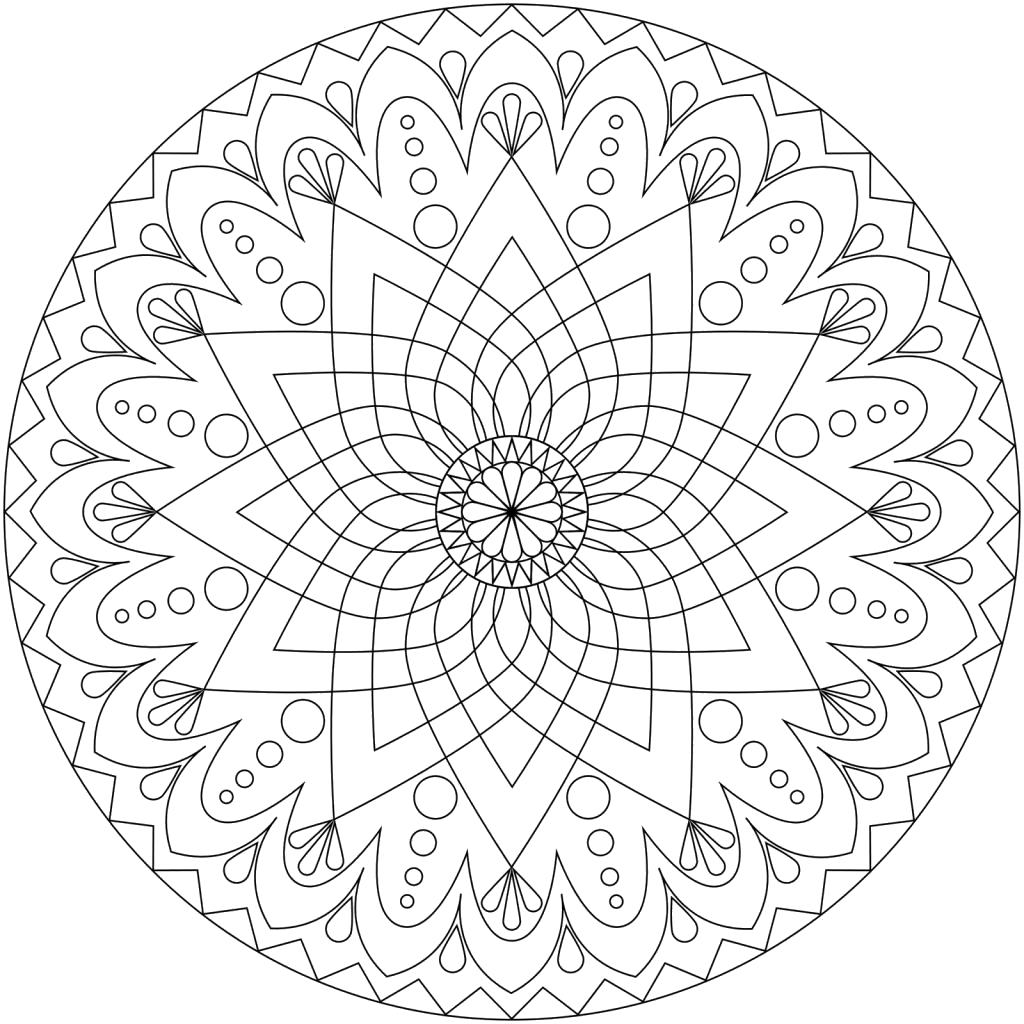 Раскраска Мандала Большой цветок. Скачать мандала.  Распечатать мандала