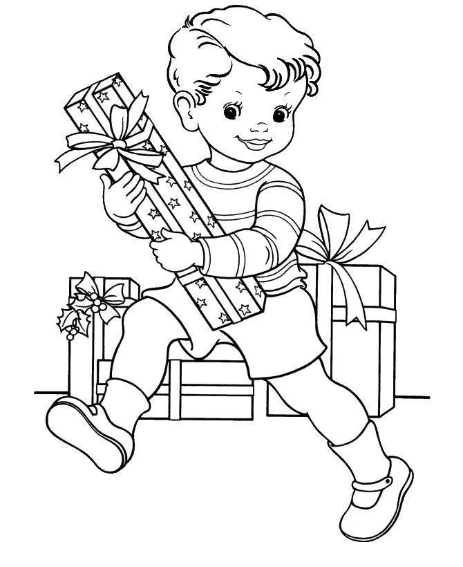 Раскраска мальчик с одарками. новогодние