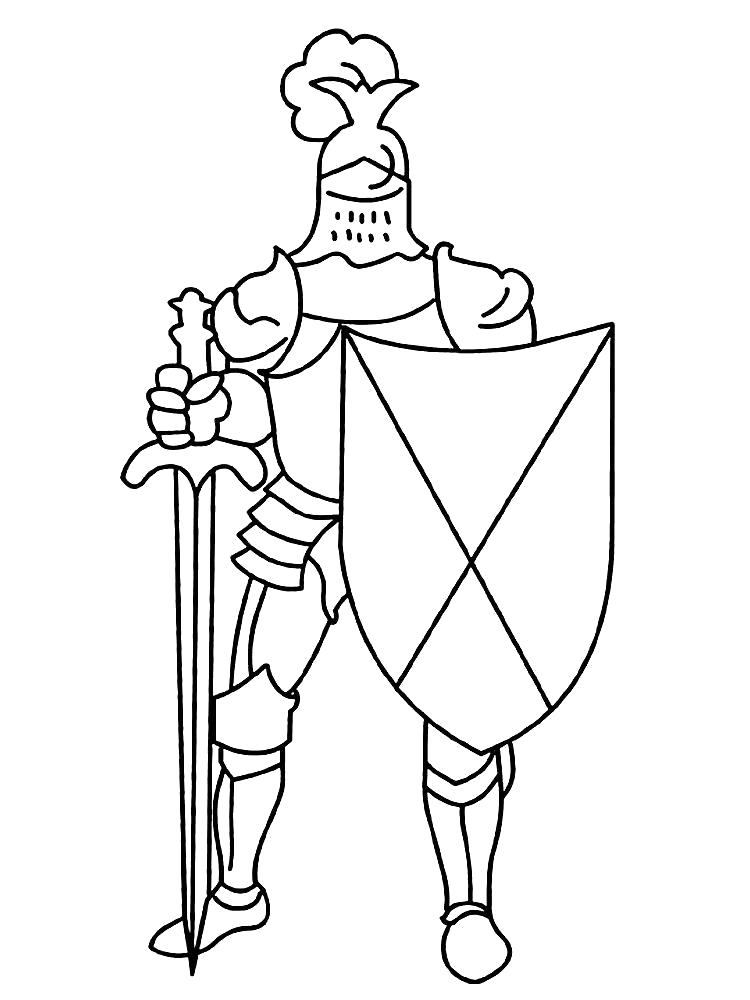 Раскраска Рыцарь Со щитом. Скачать рыцари.  Распечатать рыцари