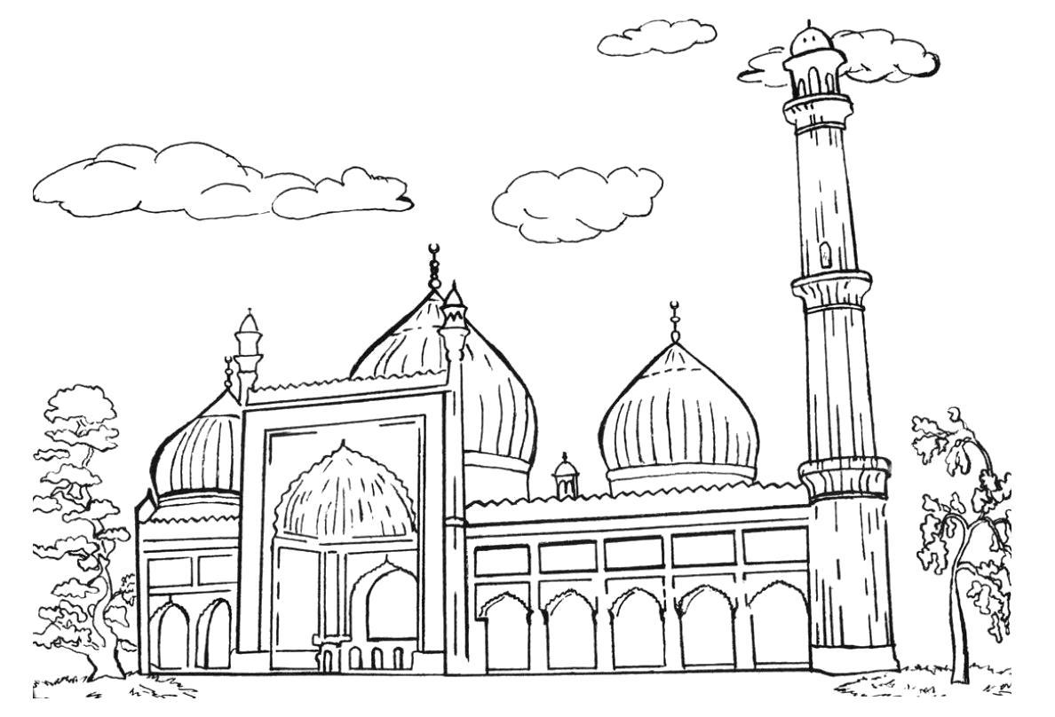 Раскраска Большая мечеть. Мечеть
