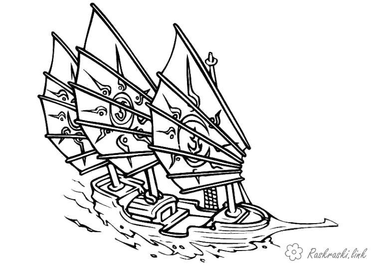 Раскраска  летучий  для детей, корабль, паруса. Скачать корабль.  Распечатать для мальчиков