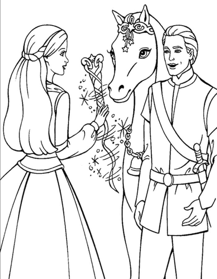 Раскраска  Барби и кен с лошадью. Скачать барби.  Распечатать барби