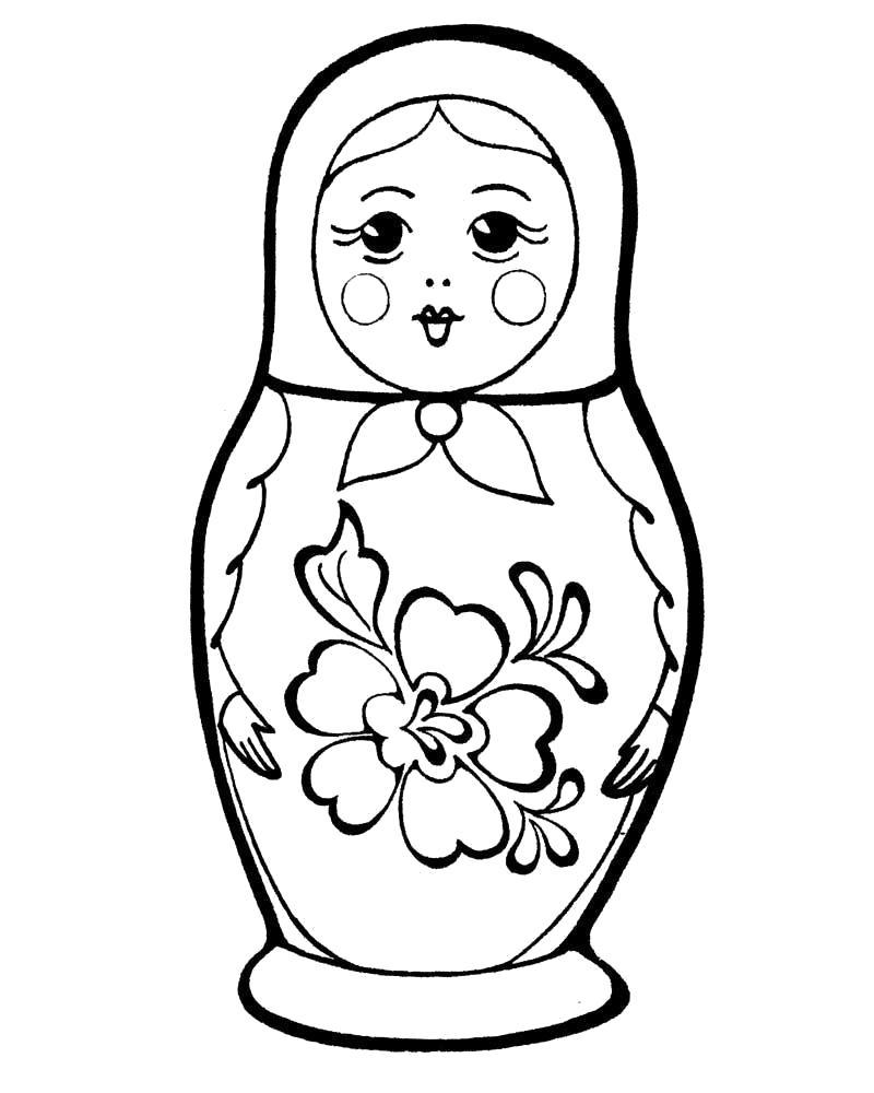 Раскраска Матрешка  для малышей 2-3 лет. Скачать Матрешка.  Распечатать Матрешка