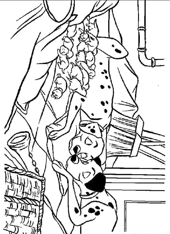 Раскраска Раскраска для детей - 101 далматинец спит. 101 далматинец