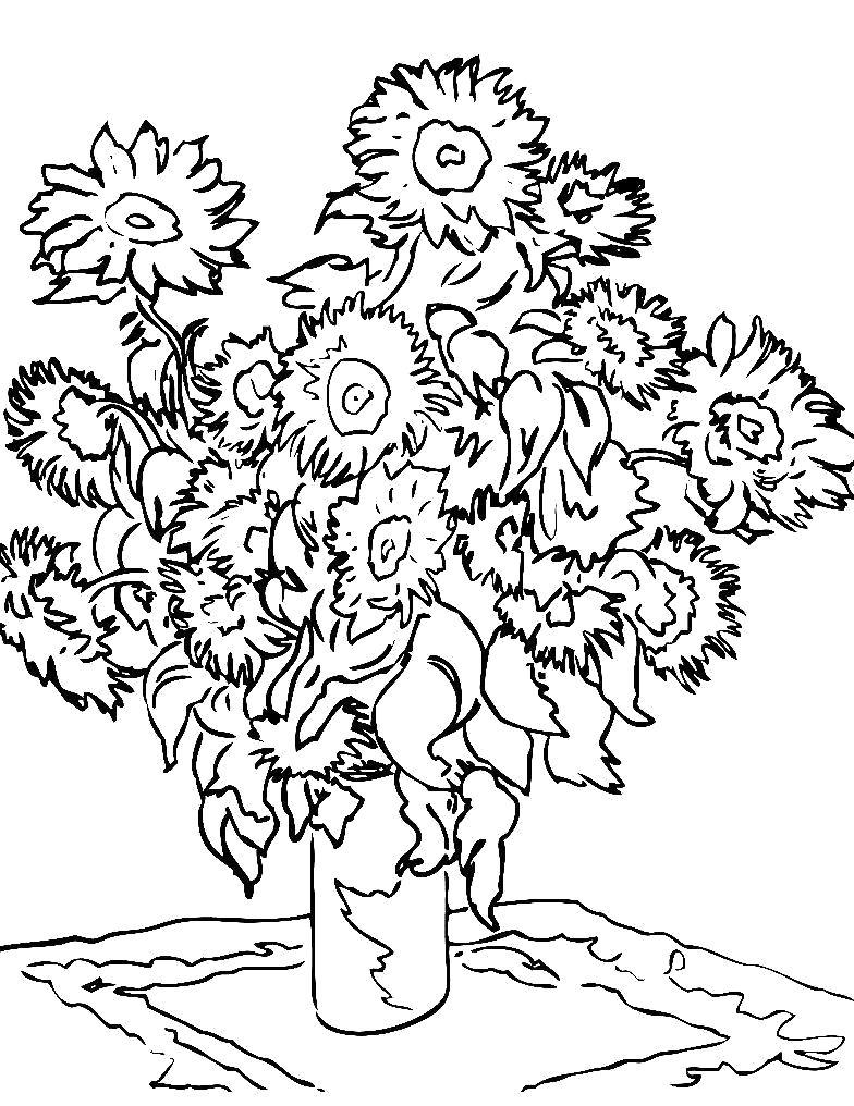 Раскраска подсолнухи в вазе, цветы, ваза. подсолнух