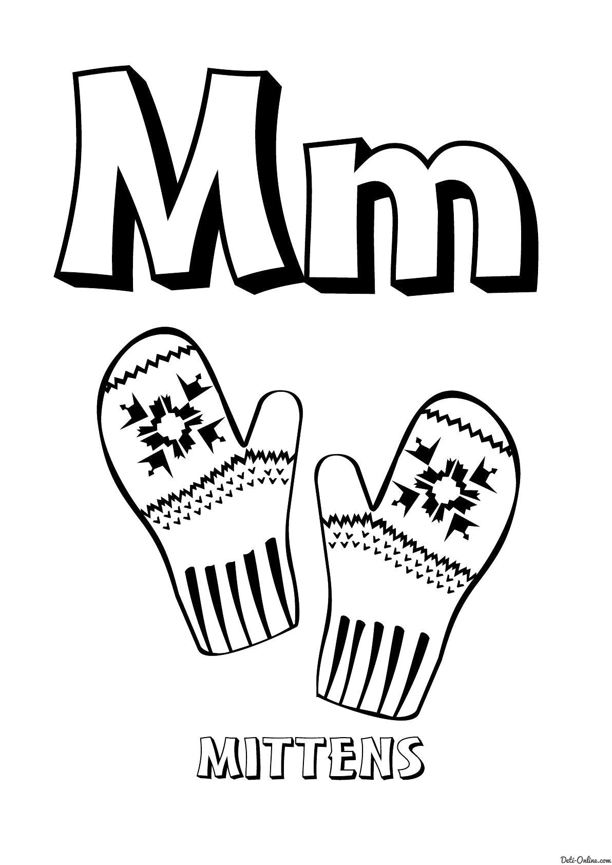 Раскраска  Буква M английского алфавита. Скачать Английского.  Распечатать Английского