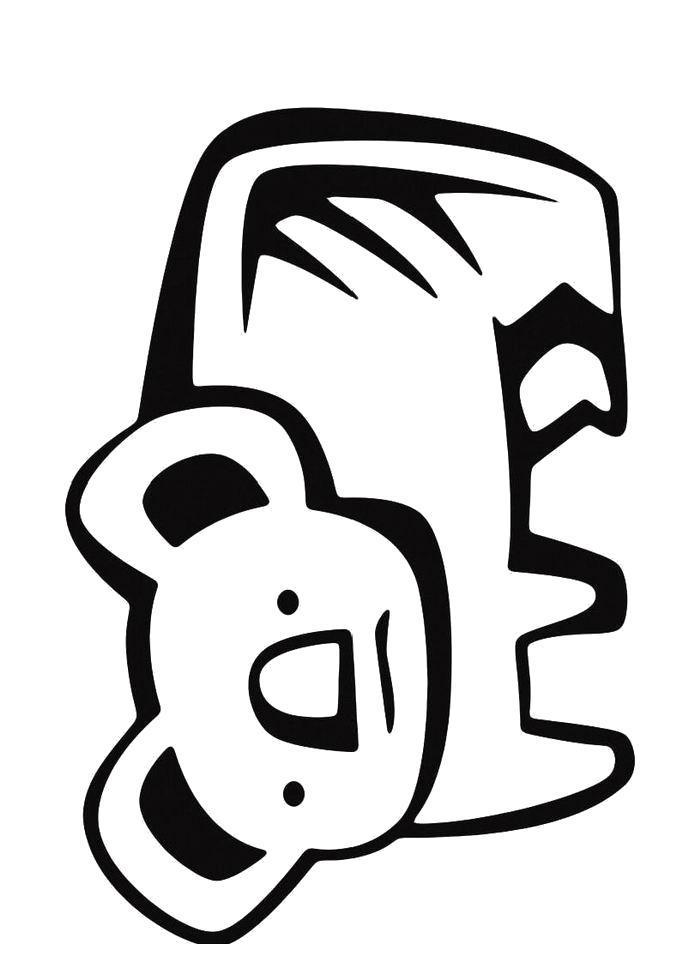Раскраска  Нарисованный коала.