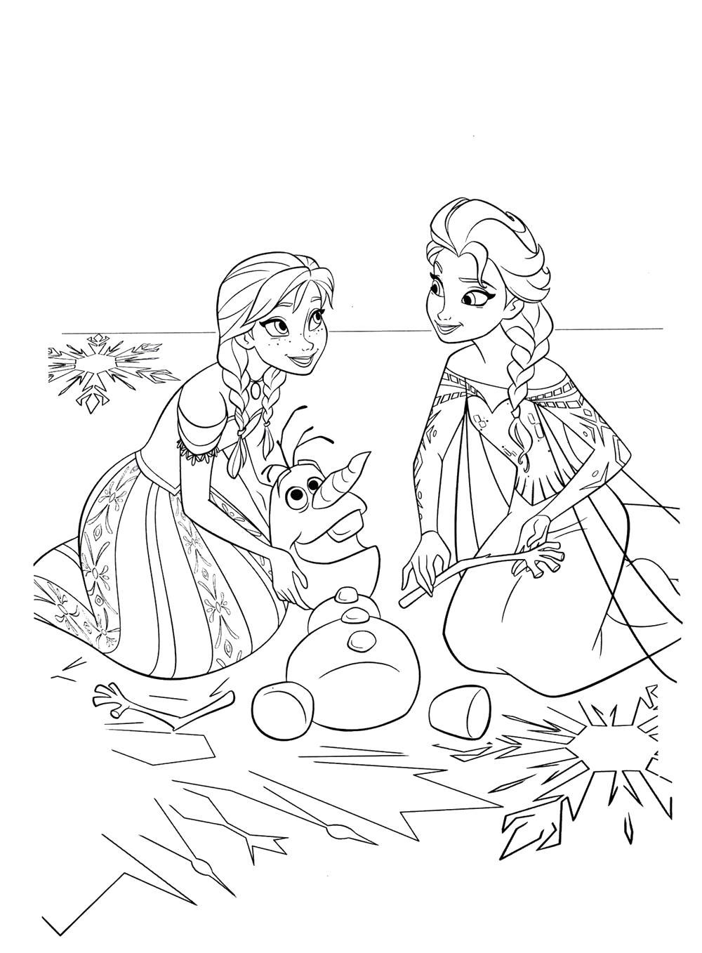 Раскраска раскраски холодное сердце снеговик олаф анна и эльза. Олаф