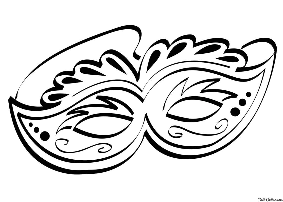 Раскраска  Карнавальная маска. Скачать маски.  Распечатать маски