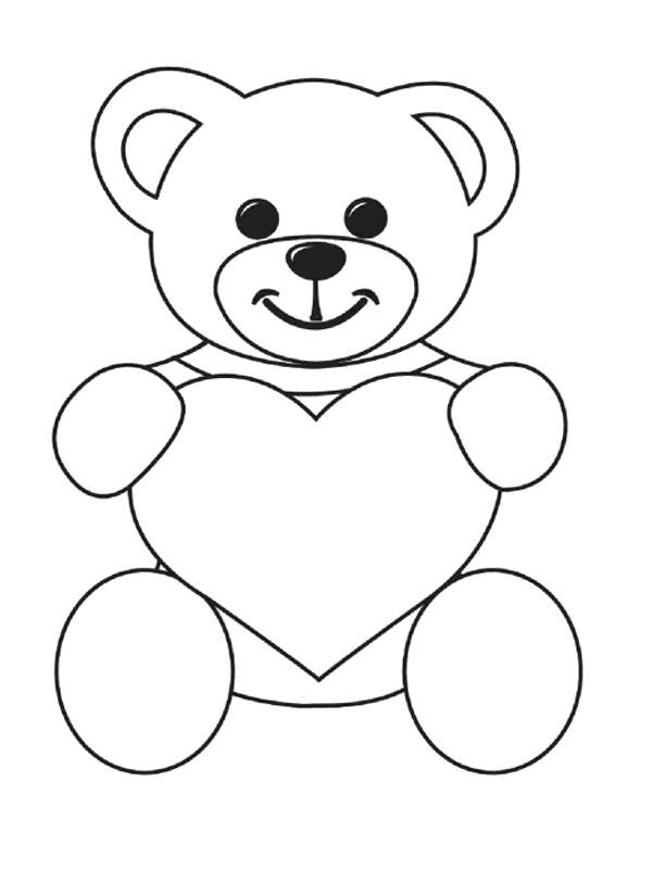 Раскраска  День святого Валентина мишка сердце. Скачать сердце.  Распечатать сердце