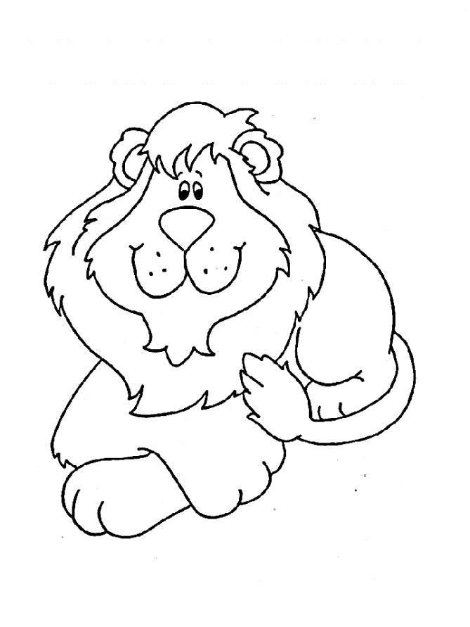 Раскраска Раскраска добрый лев. Лев