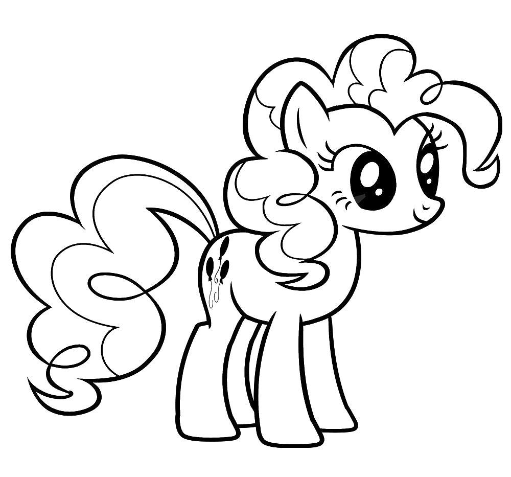 Раскраска Детские черно-белые картинки с Моя маленькая пони для раскрашивания. Скачать Пинки Пай.  Распечатать Дружба это чудо