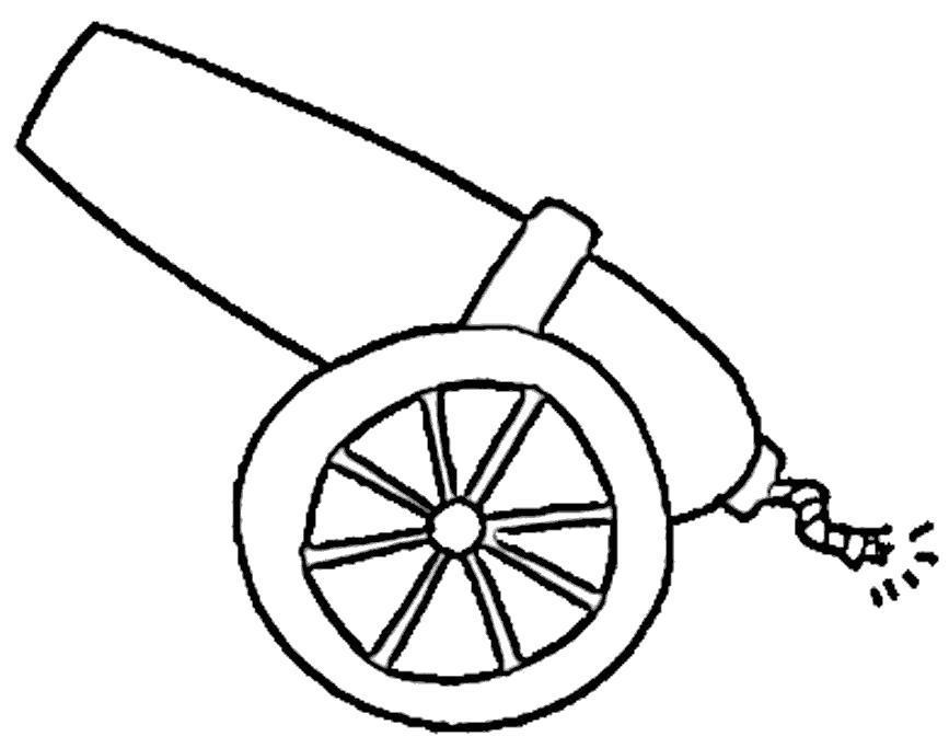 Раскраска Заряженная пушка.
