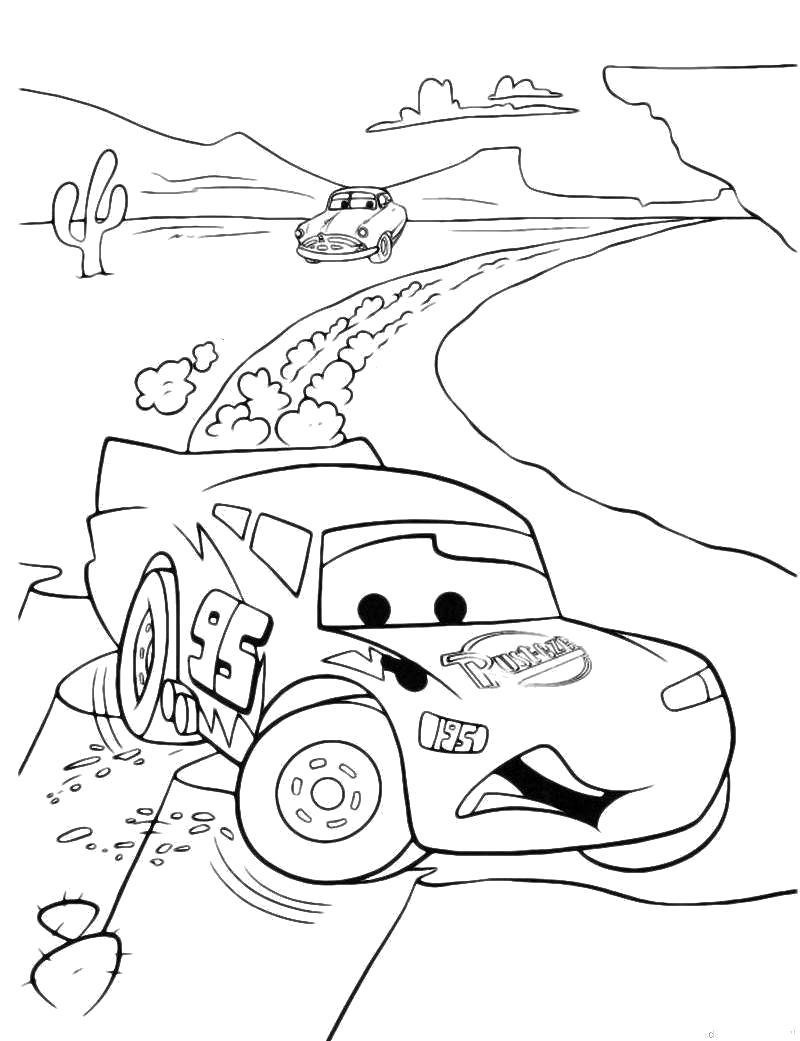 Раскраска Дрифт, скорость, форсаж, занос машины. Скачать Тачки.  Распечатать Тачки