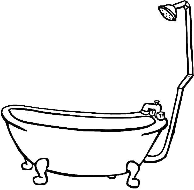 Раскраска Ванная, Ванна с душем. Скачать мебель.  Распечатать мебель