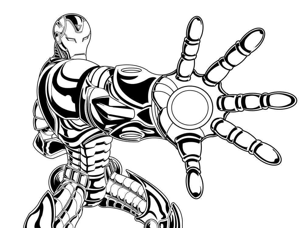 Раскраска Скачать бесплатные детские  Железный человек. Скачать Железный человек.  Распечатать Комиксы и супергерои