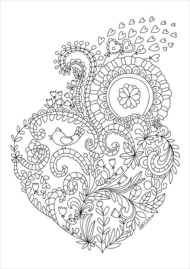 Раскраска Сердце - Раскраски для взрослых. День святого валентина