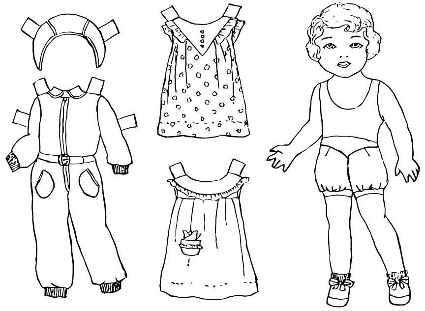Раскраска одежда для вырезания. Скачать платье.  Распечатать платье