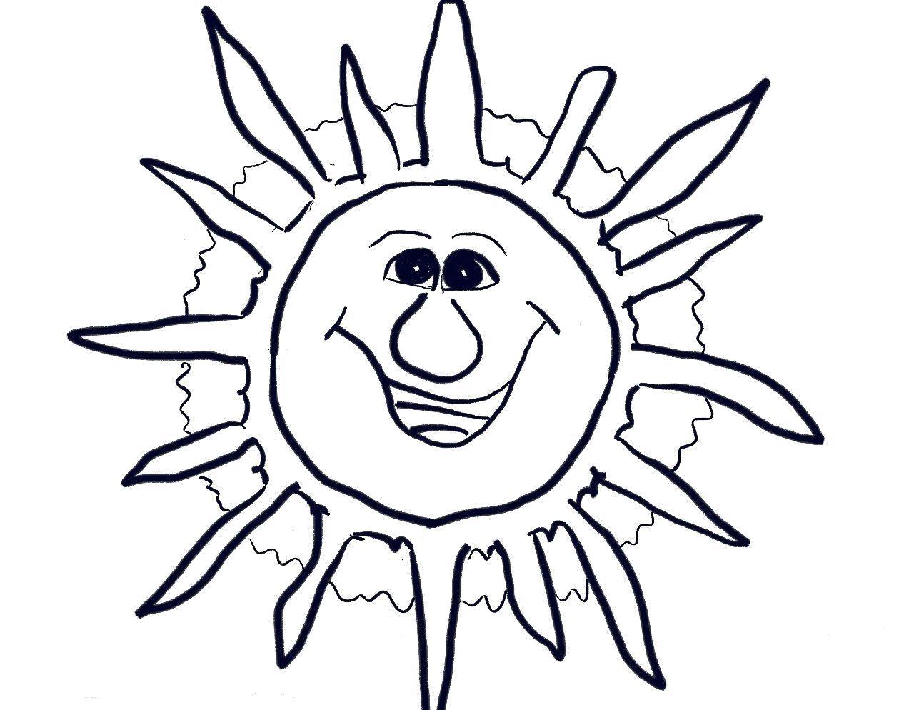 Картинки для разукрашивания солнышко