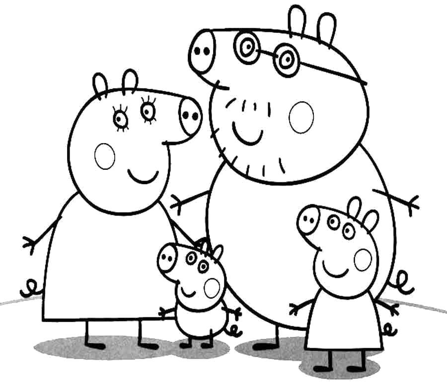 Раскраска Распечатать раскраску Свинка Пеппа. Скачать Свинка Пеппа, Джорж, Мама свинка, Папа свин.  Распечатать Свинка Пеппа