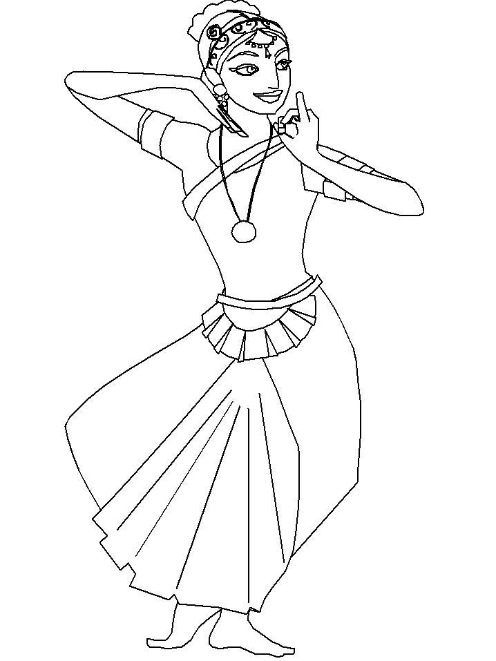 Раскраска Индийский танец. Скачать Танец.  Распечатать Танец