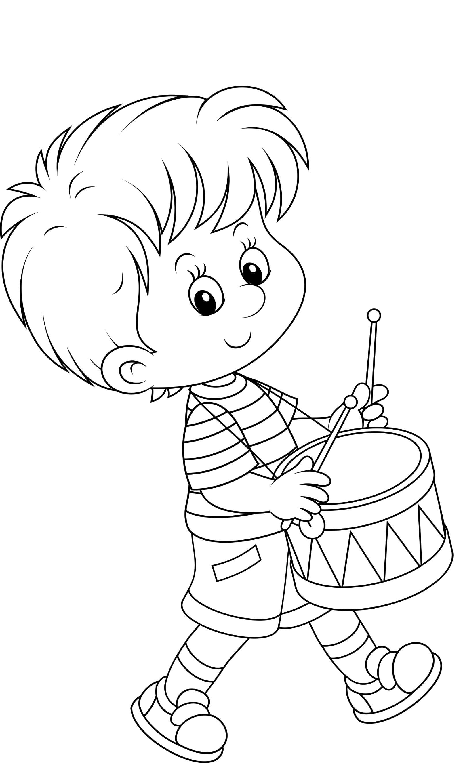 Раскраска Мальчик барабанит, . Скачать Барабан.  Распечатать Барабан