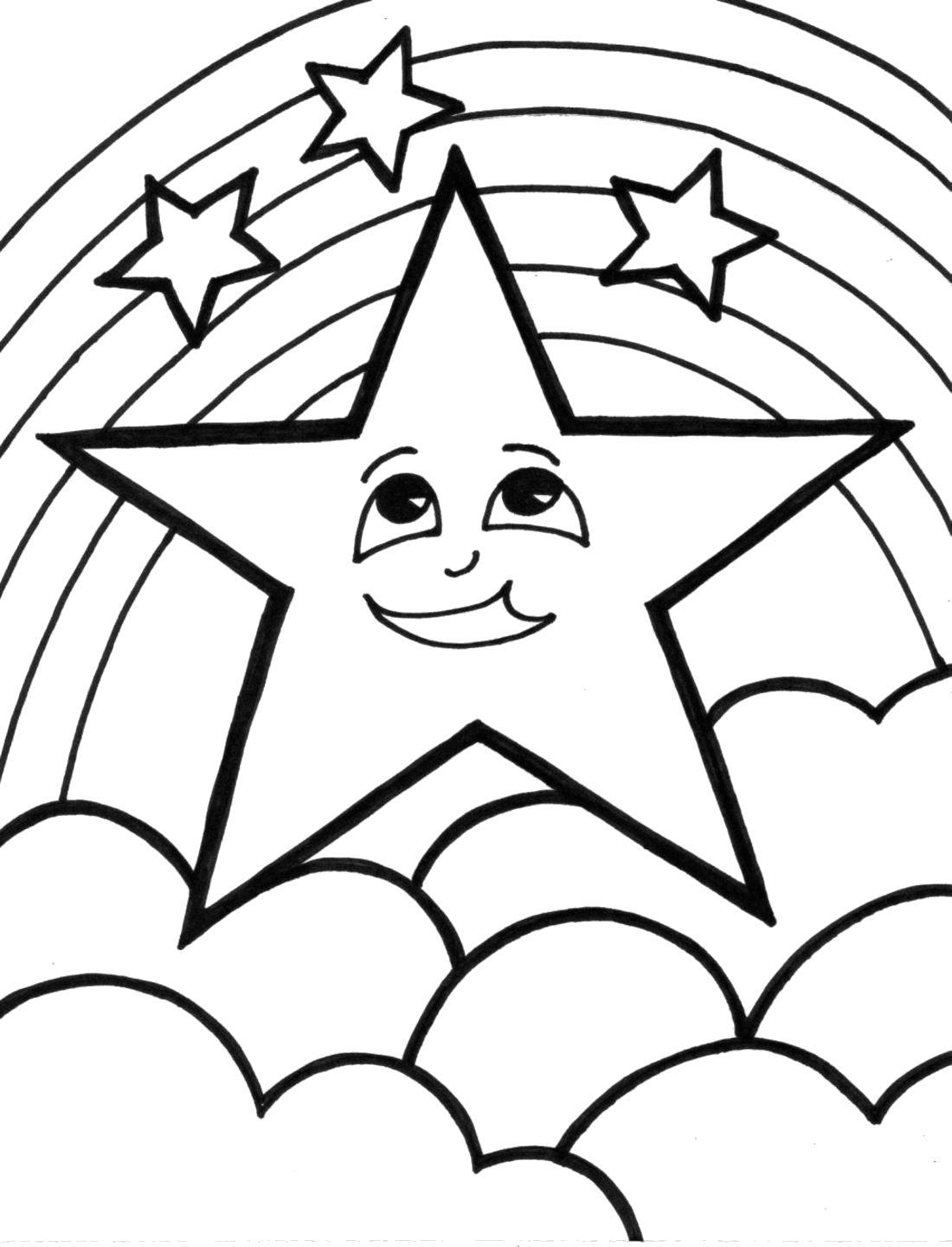 """Раскраска  """"луна и звезды"""" скачать и распечатать бесплатно. Скачать космос.  Распечатать космос"""