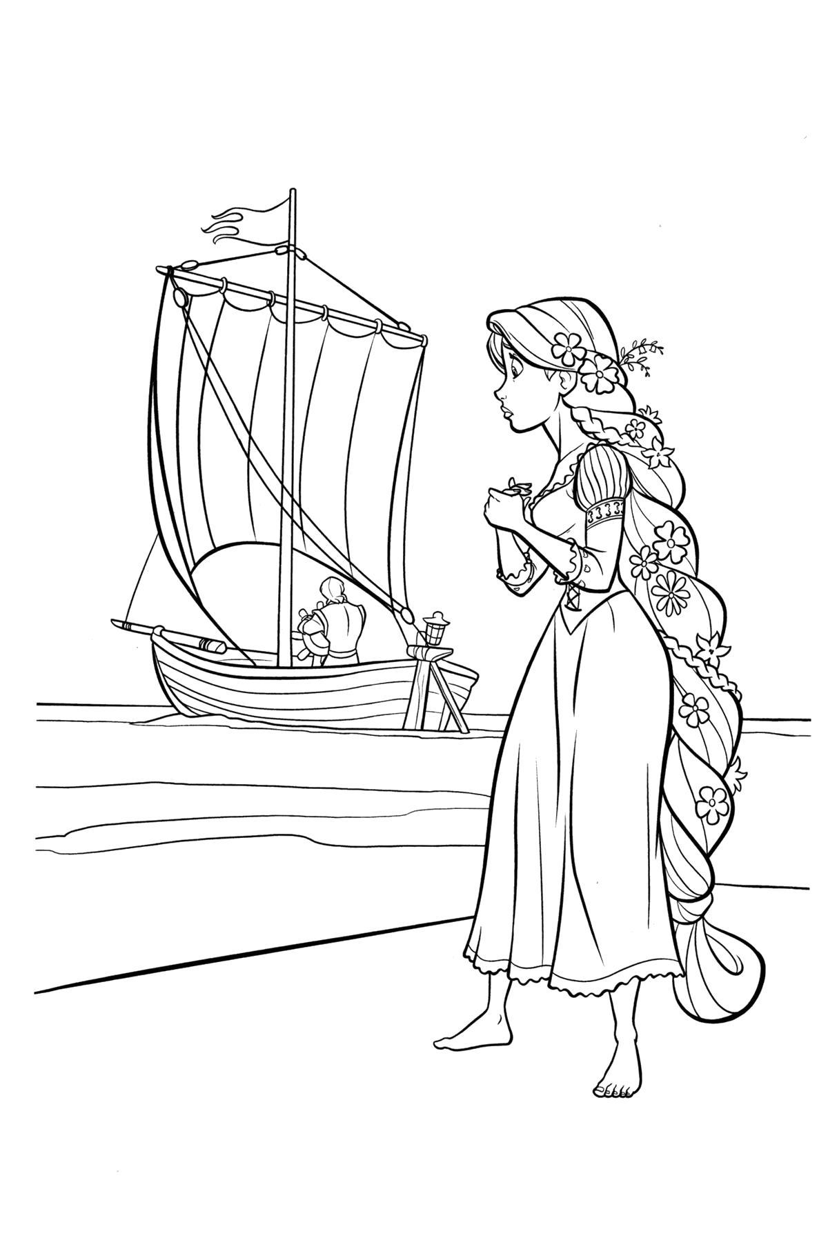 Раскраска  рапунцель возле паруса. Рапунцель