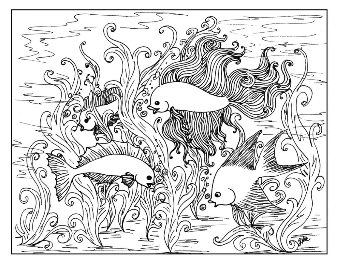 Раскраска Рыбки -  для взрослых. Скачать для взрослых, узоры.  Распечатать антистресс