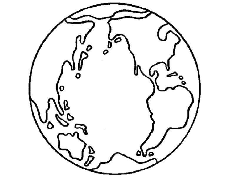 Раскраска  земной шар. Скачать Планета.  Распечатать Планета