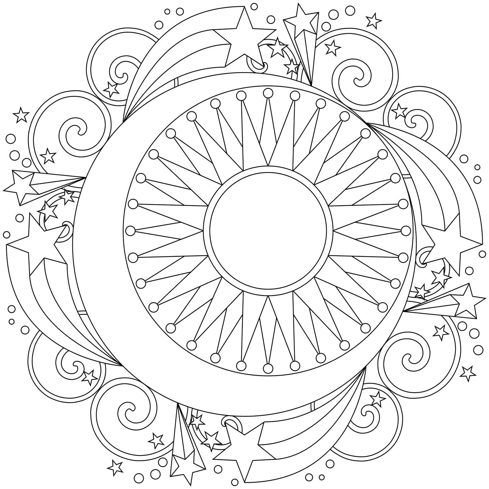 Раскраска Мандала Луна и Солнце. Скачать мандала.  Распечатать мандала