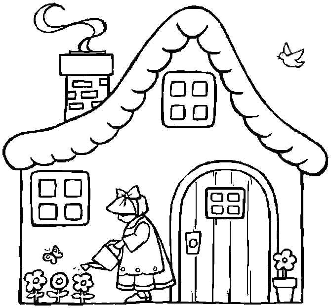 Раскраска девочка поливает цветы, домик, дым из дымохода. Скачать Дом.  Распечатать Дом