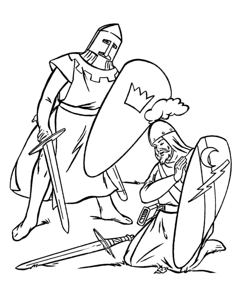 Раскраска Рыцарь победил. рыцари