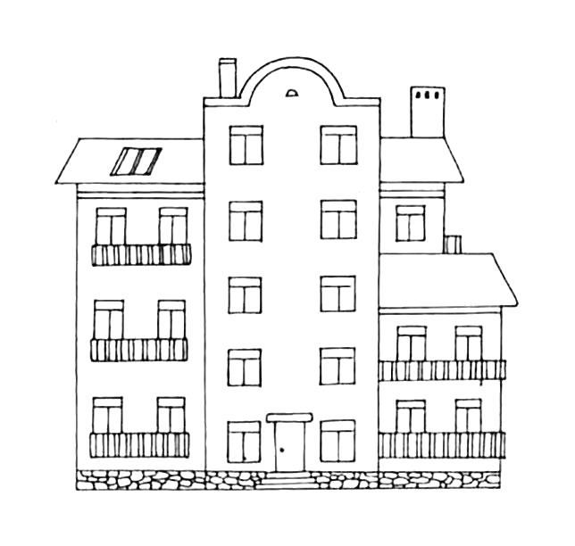 Раскраска жилой дом, высокий дом, трехэтжный дом. Скачать Дом.  Распечатать Дом