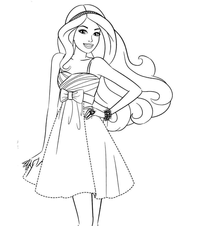 Раскраска Раскраска Барби модница. барби