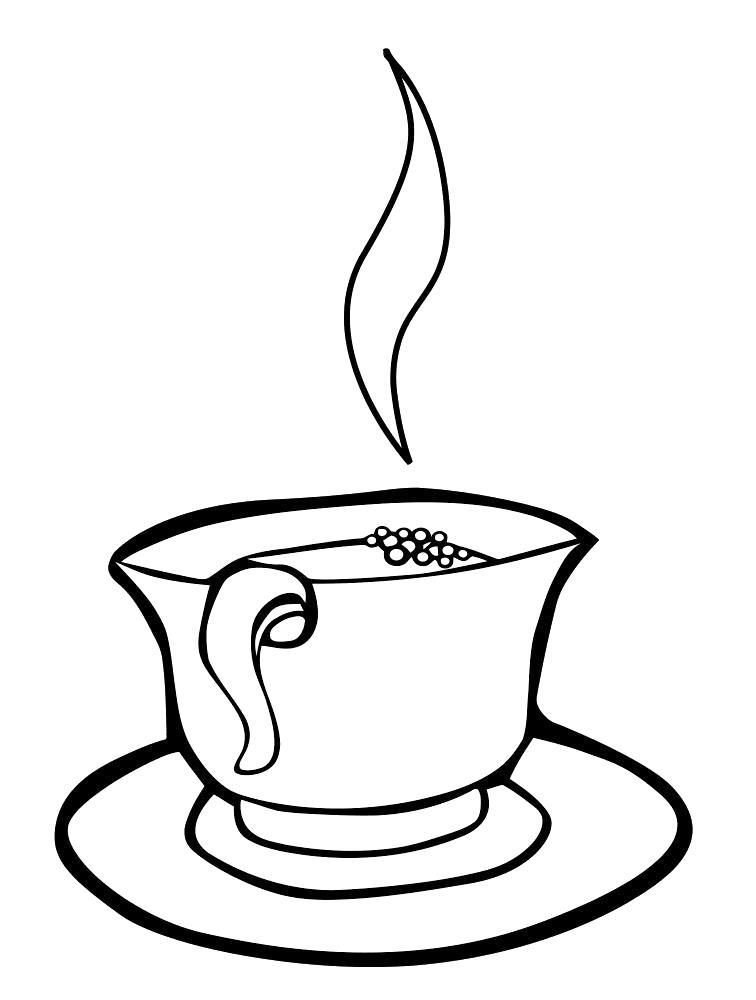 Раскраска Горячий кофе. чашка