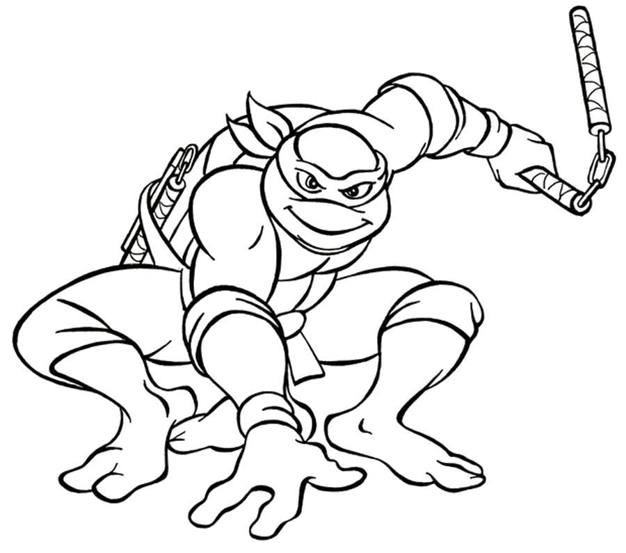 Раскраска черепашки ниндзя. Скачать Микеланджело.  Распечатать Черепашки ниндзя