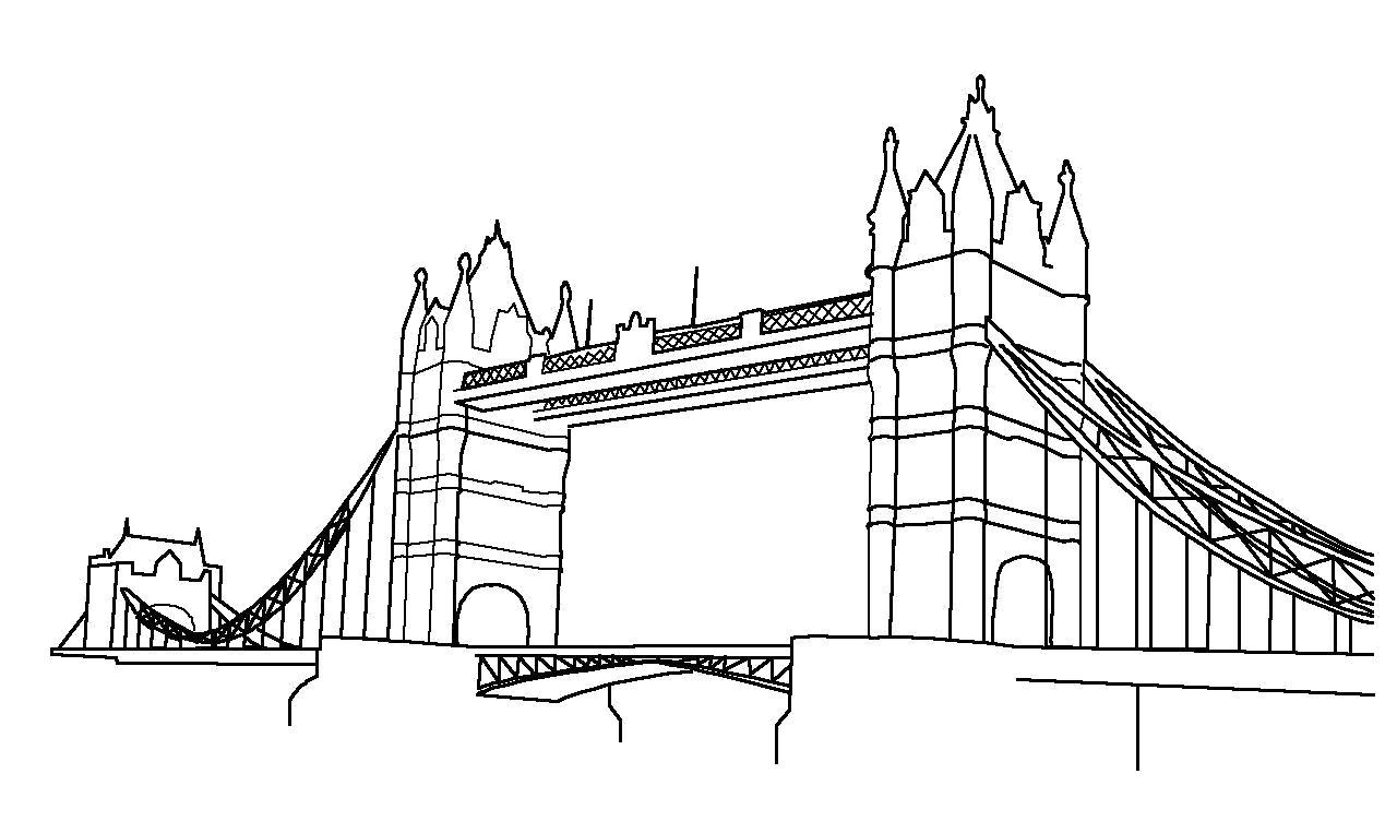 Раскраска Лондон, Тауэрский мост. . Скачать мост.  Распечатать мост